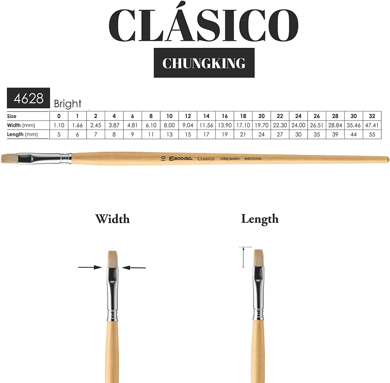 Escoda Clasico 4628 Oil /& Acrylic Chungking White Bristle Paint Brush Bright; Size 4 by Escoda