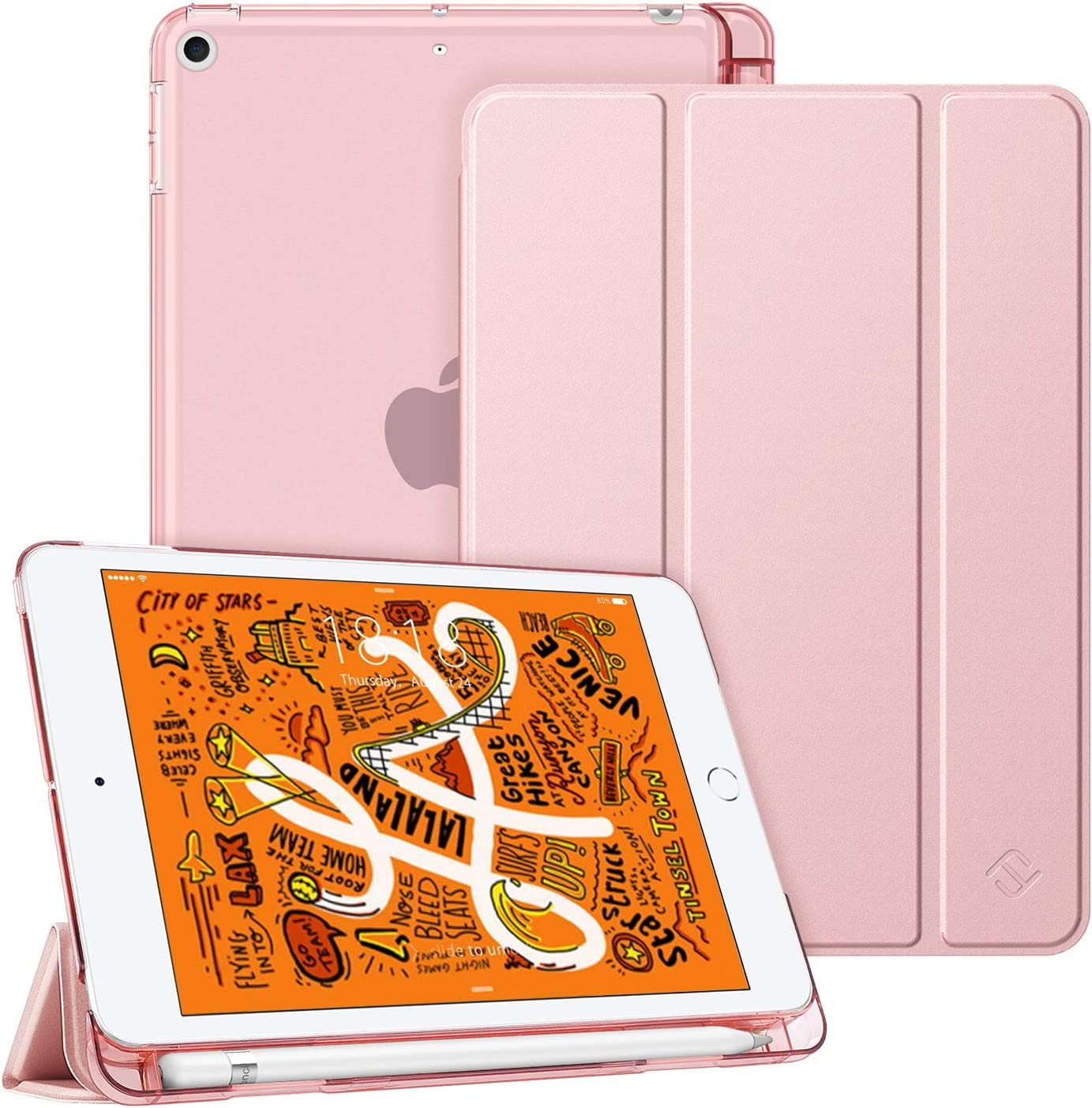 Fintie Case for iPad Mini 5 2019 - Lightweight Slim Shell Cover with Translucent Frosted Back Protector Supports Auto Wake/Sleep for iPad Mini 5th Generation 7.9 Inch, Rose Gold