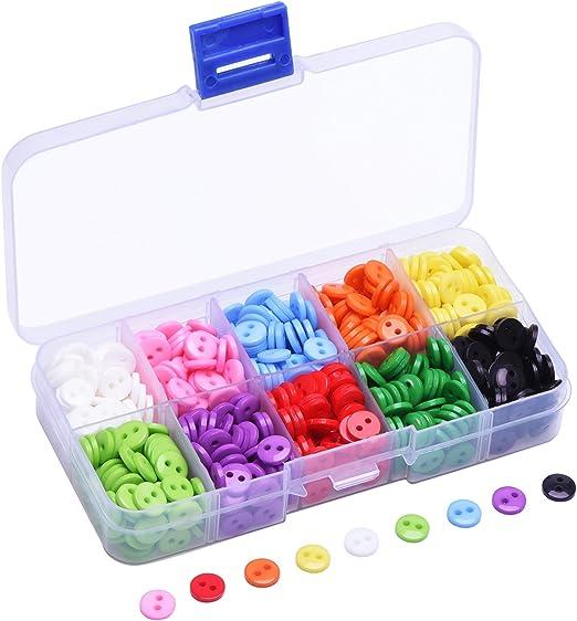 0,35 Pulgadas (9 mm) Botones de Resina Redondos Botones Planos de Costura en 10 Colores de Caramelo con Caja de Plástico, 750 Piezas: Amazon.es: Hogar