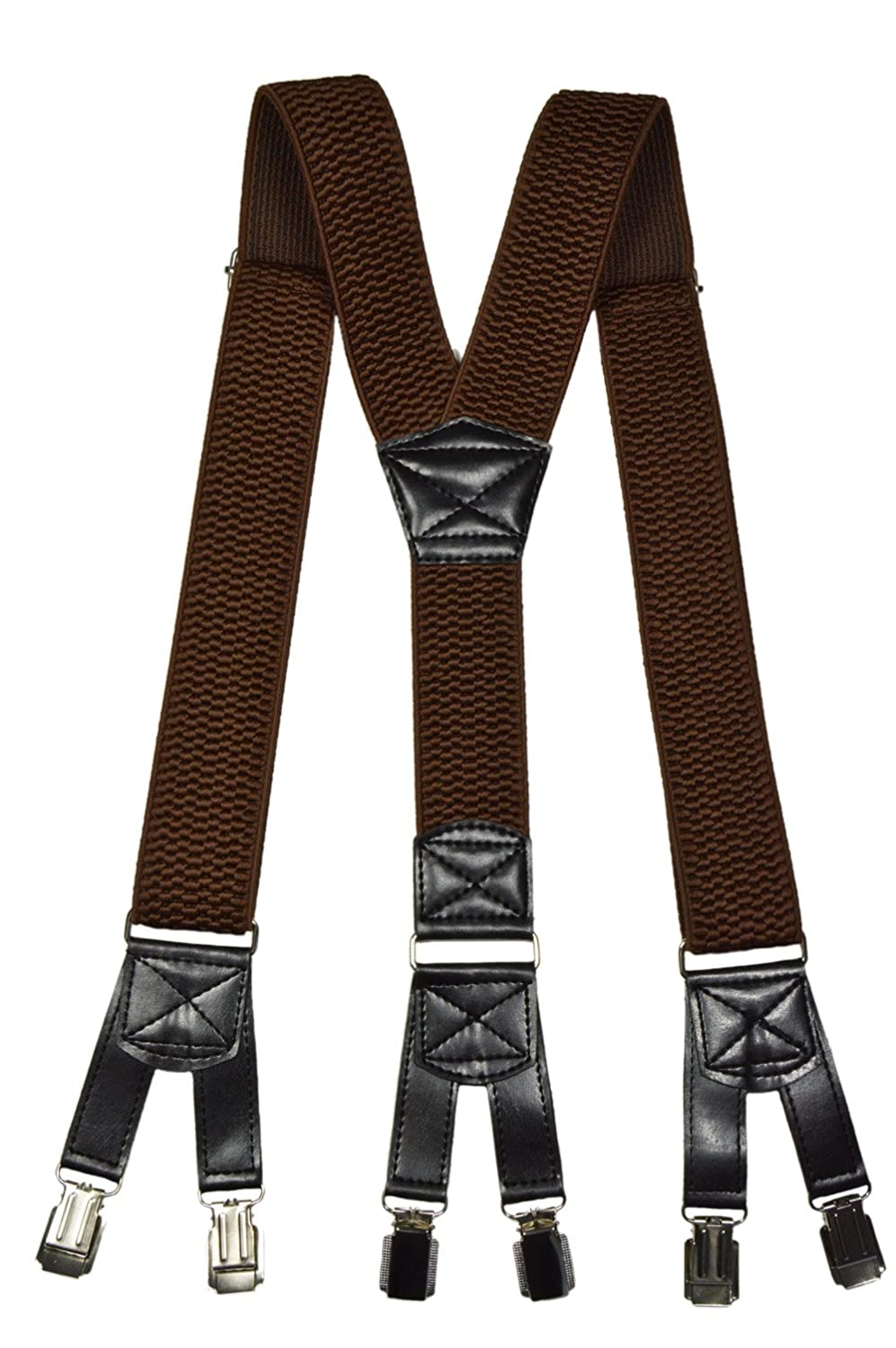 Heavy Duty Y-Shape Braces/Suspenders with 6 Clip Design, 4cm 4cm - Brown BRACESX-brown