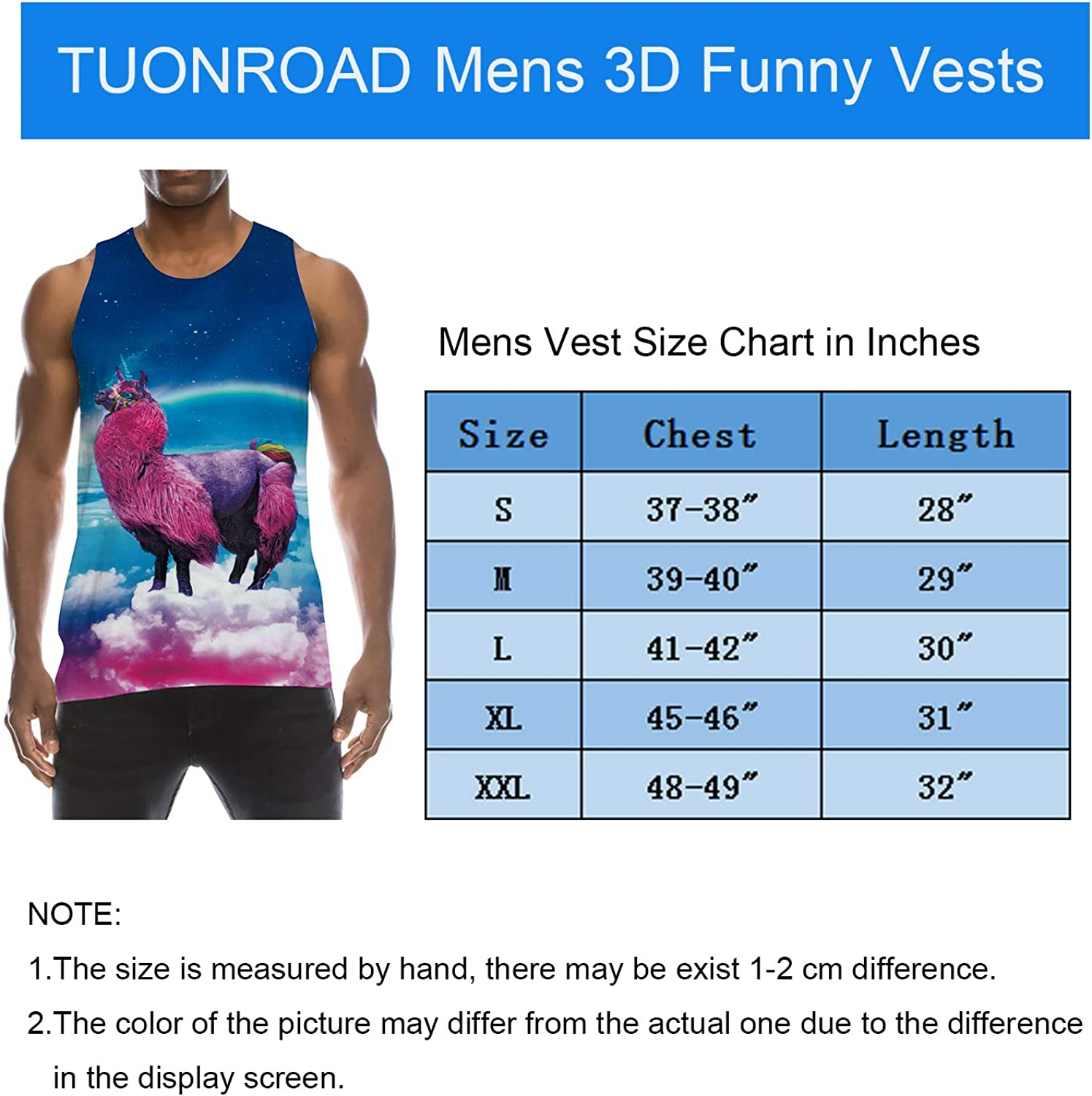 TUONROAD Mens Vest Tops Summer 3D Bright Colours Sleeveless T Shirt Gym Athletic Sport Tank Top S-XXL Tt-unicorn2