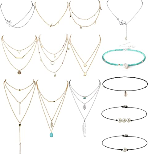 Boho Multilayer Crystal Choker Pendant Necklace Beads Chain Women Jewelry Gift I