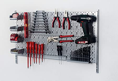 /00421/Herramientas Juego de soporte de herramientas de metal Plus 18/piezas incluye tornillos y tacos orificios pared para pared de herramientas wei/ßalu Element System 18133/ banco de accesorios