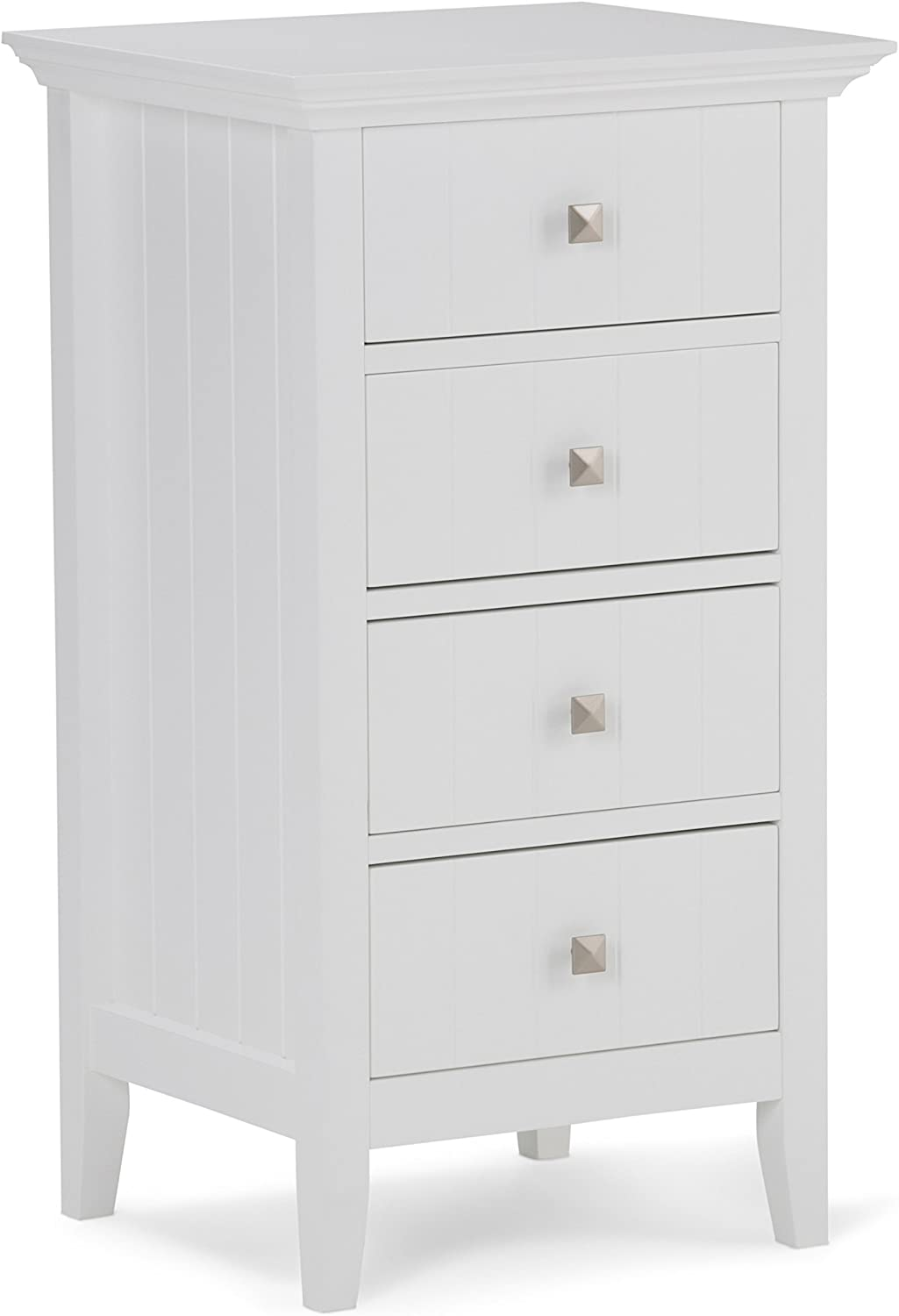 Simpli Home AXCBCACA-02 Acadian 32.1 inch H x 18 inch W Four Drawer Floor Storage Bath Cabinet in White