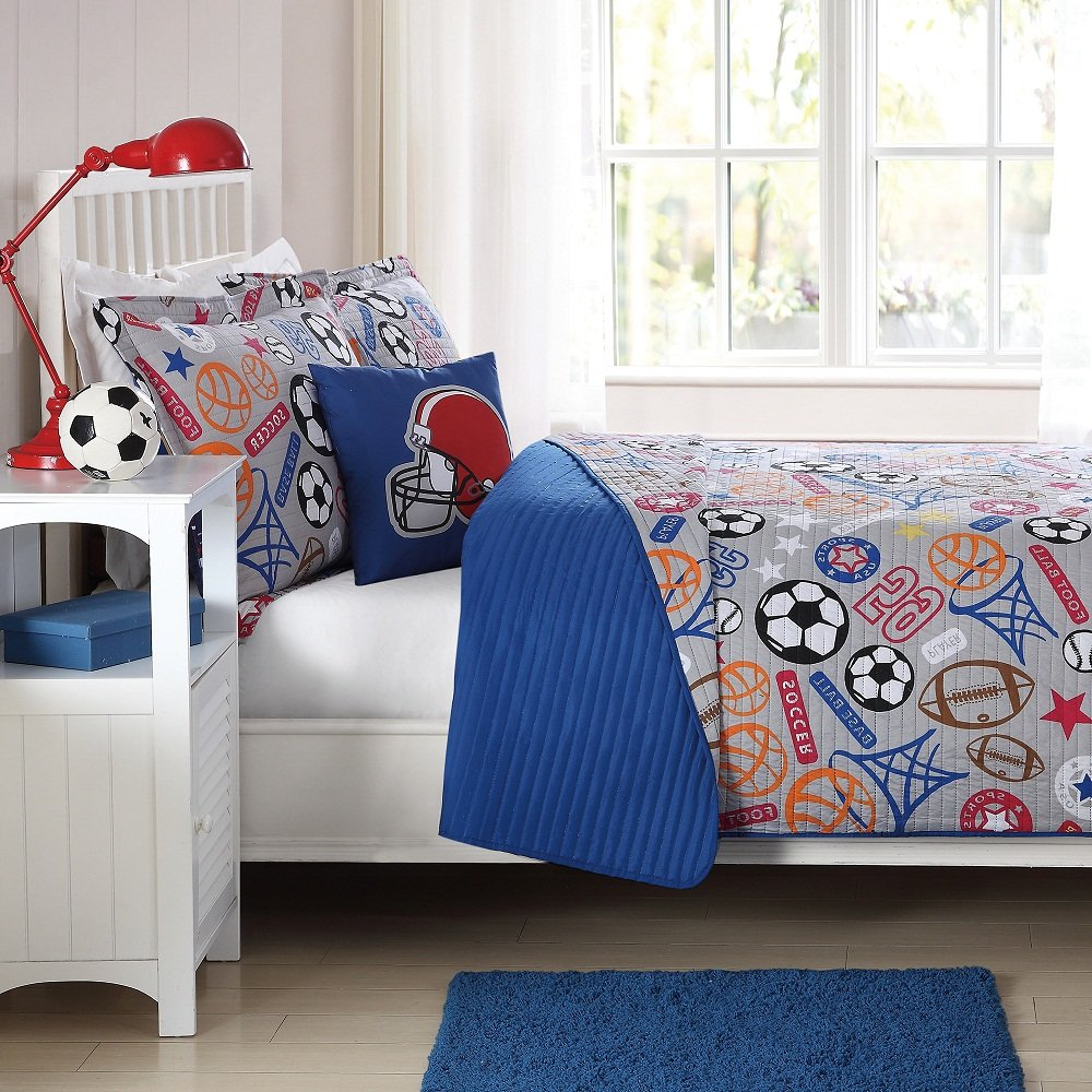 3 Piece Boys Blue Sports Quilt Twin Set, Stylish Sport Star Inspired Bedding, All Over Multi Soccer Ball Football Helmet Basketball Hoops Baseball Player Themed, Grey Orange Red White Black Brown DH