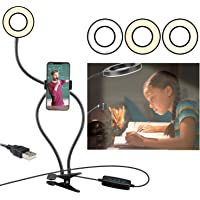 Clip on Reading Light,360 ° Flexible Gooseneck Bed Night Light,LED USB Clip Desk Lamp with Cell Phone Holder Stand 3…