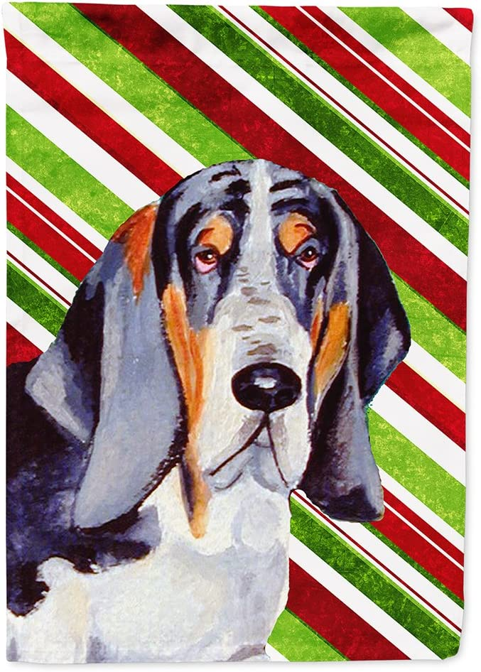 Caroline's Treasures LH9237GF Basset Hound Candy Cane Holiday Christmas Flag Garden Size, Small, Multicolor