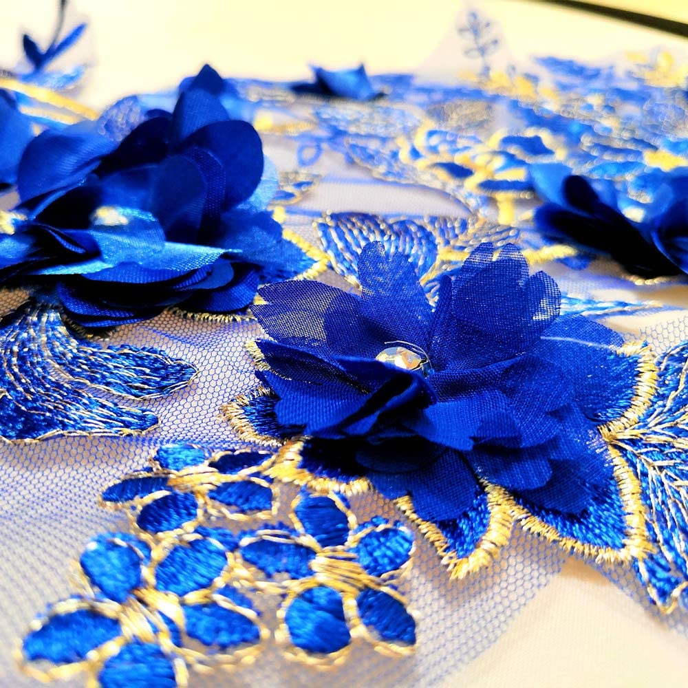 Blue, 38x102 cm 3D Long Lace Embroidery Applique Motif Sewing Rhinestone Fabrics African French Fabric for Wedding Dress