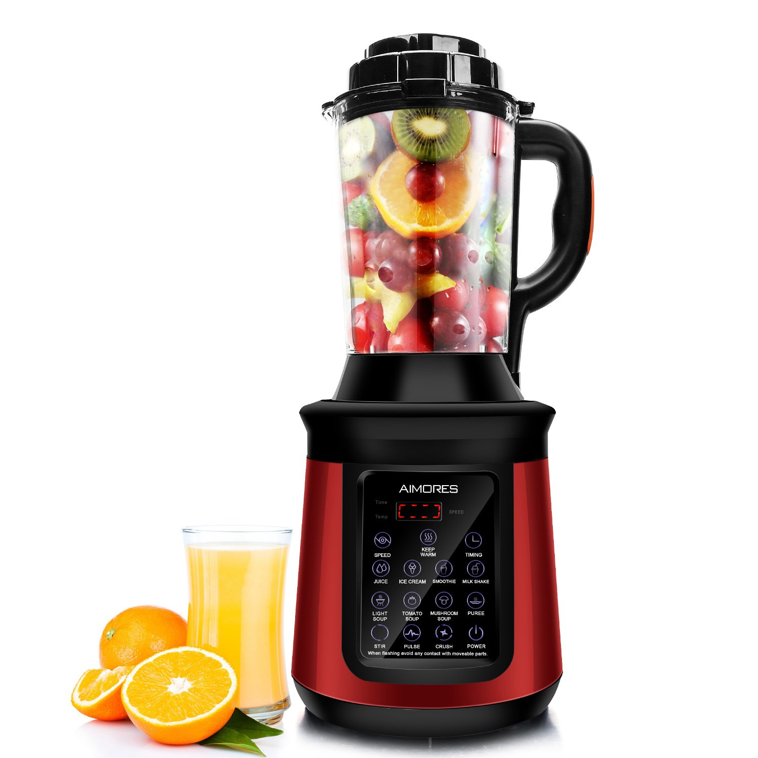 Commercial Blender Aimores with Heating Function - Soup Maker - 8 Pre-programmed - 62oz. Glass Pitcher with Spill-proof Design - LED Touch Screen Control - ETL/FDA Certified (Red)
