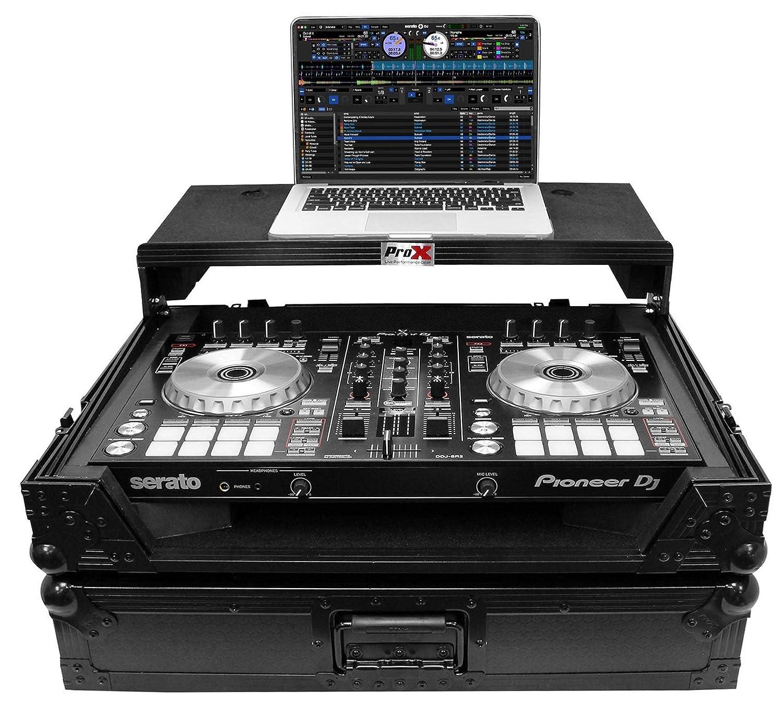 ProX XS-DDJSR2LTBL-LED Case+Sliding Laptop Shelf+LED's For Pioneer DDJ-SR2-Black Pro x Cases