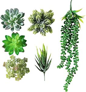 lvmeng Artificial Succulent Plants Assorted Faux Succulent in Different Green Artificial Textured Faux Pick Hanging String of Pearls for Wedding Centerpieces (6 Pack Green)