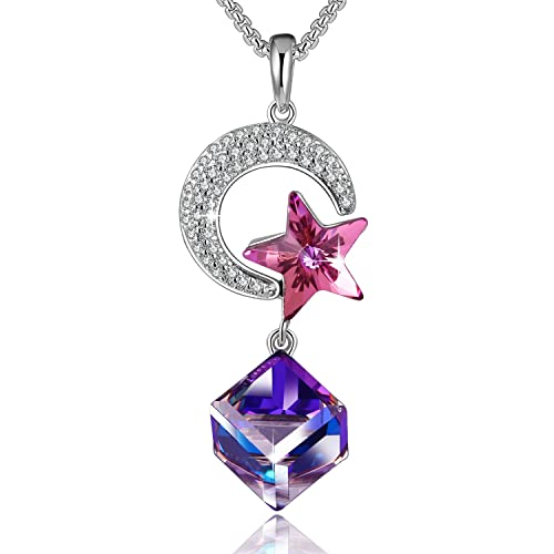 01445cc4dbb PLATO H Change Color Necklace Moon and Star Necklace Star Moon Necklace  with Swarovski Crystal Woman