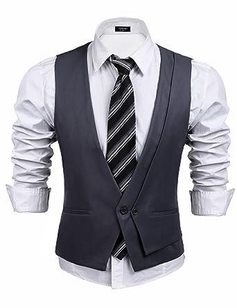 Coofandy Men\'s Skinny Wedding Dress Vest V-neck Slim Fit Suit Vest ...