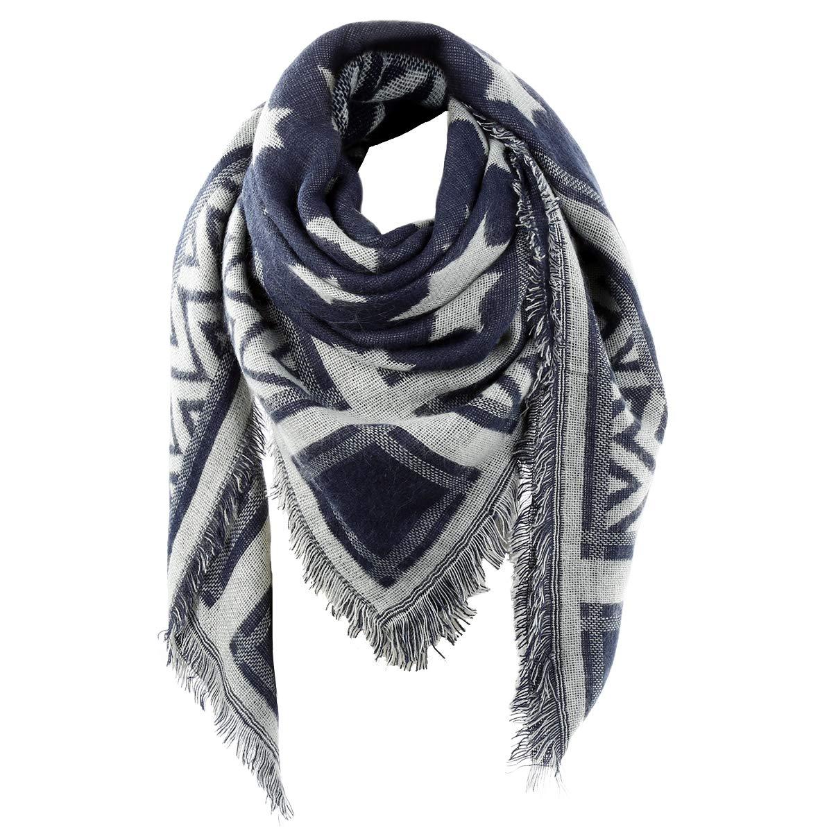 Women's Plaid Blanket Scarf Winter Warm Big Square Large Scarves Oversized Tartan Long Shawl,Navy Blue