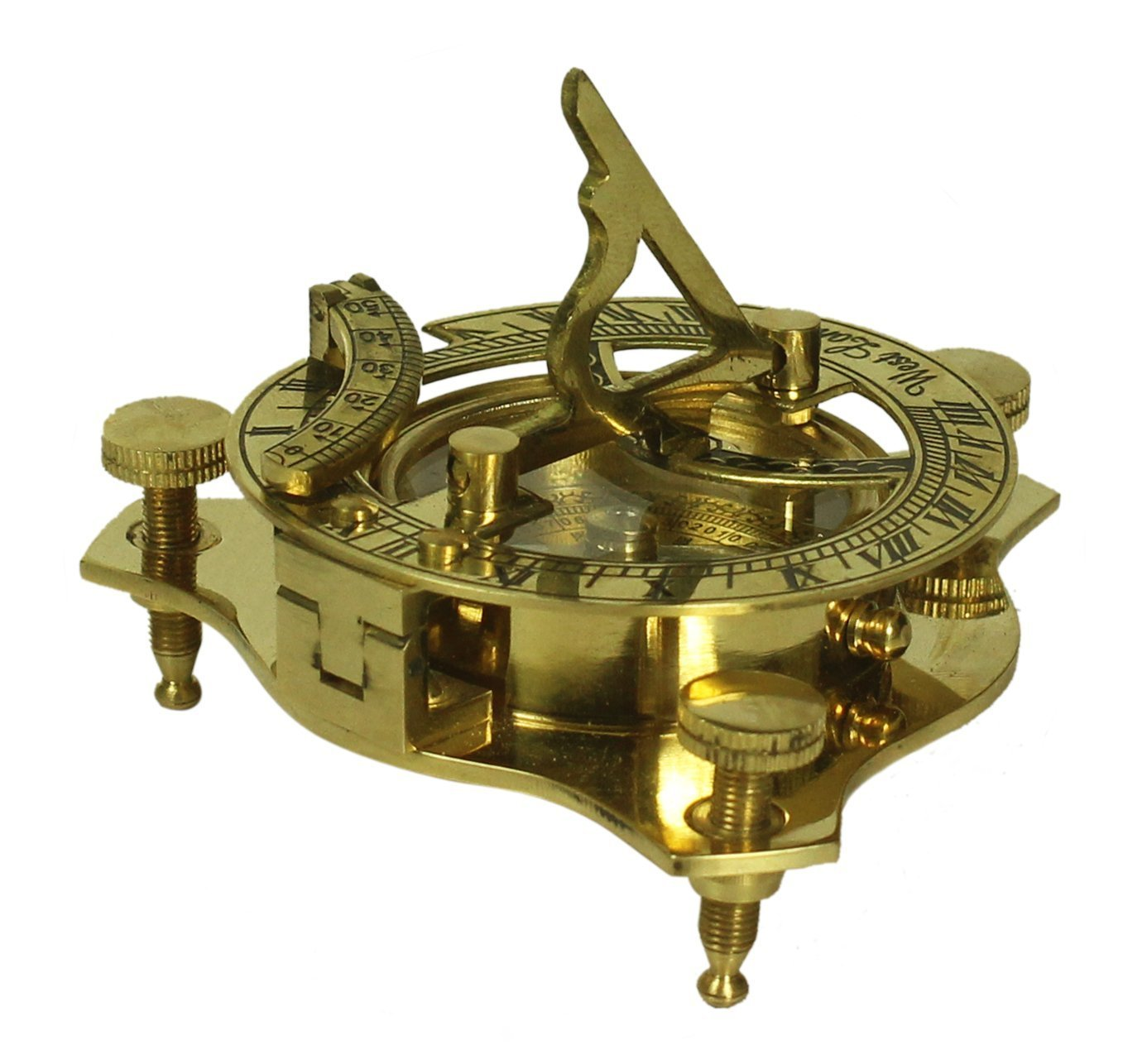 Clearance Sale on 3''Brass Compass Nautical Device - Maritime Golden-Tone Vintage Look Replica Collectible With 3 Adjustable Legs - Cyber Monday Deals#445545l