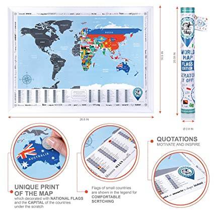 Amazon scratch off world map flags edition 268x19 bright amazon scratch off world map flags edition 268x19 bright travel map wcountries flags premium quality compact scratch off poster wsilver foil gumiabroncs Image collections