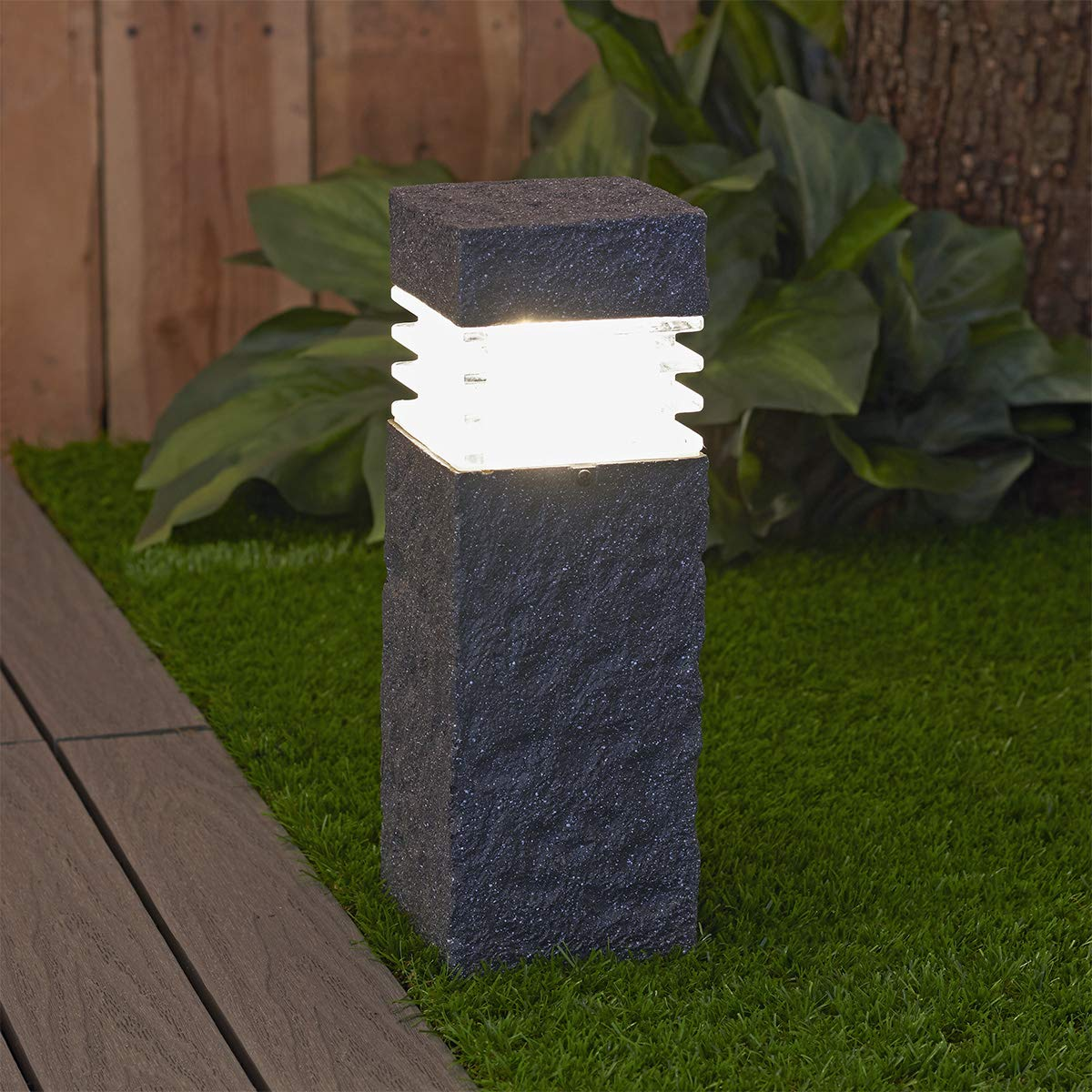 Sterno Home GL28560ST Paradise Solar Polyresin Rock Spot Light, Stone