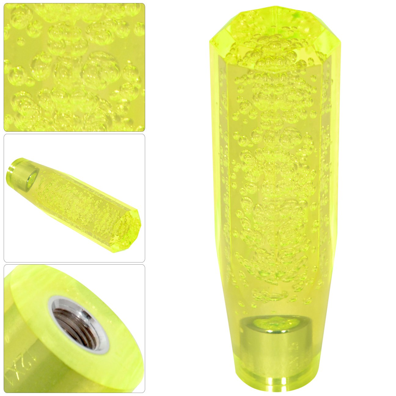 Crystal Octagon Bubble Filled Jdm Vip Style Neon Yellow Shift Knob 150Mm 6Inch
