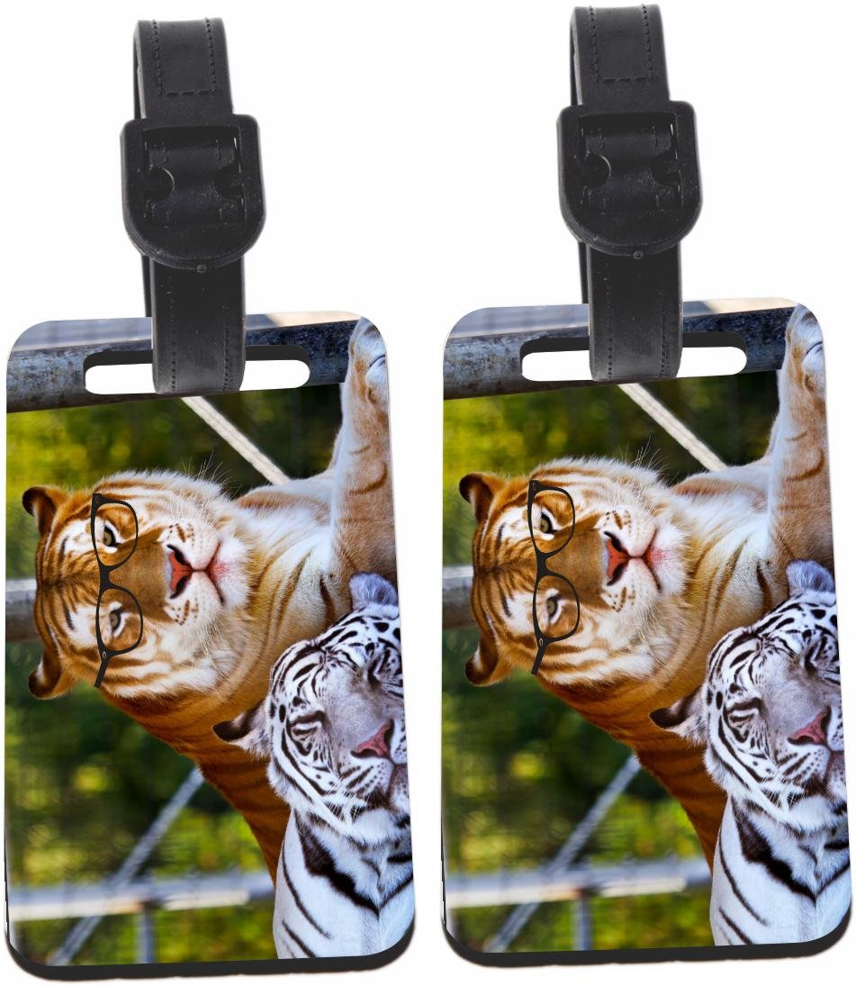 Rikki Knight Hipster Bengal Tigers Resting with Glasses Design Luggage Identifier Tag (1-sided) - with Strap Closure (Set of 6)