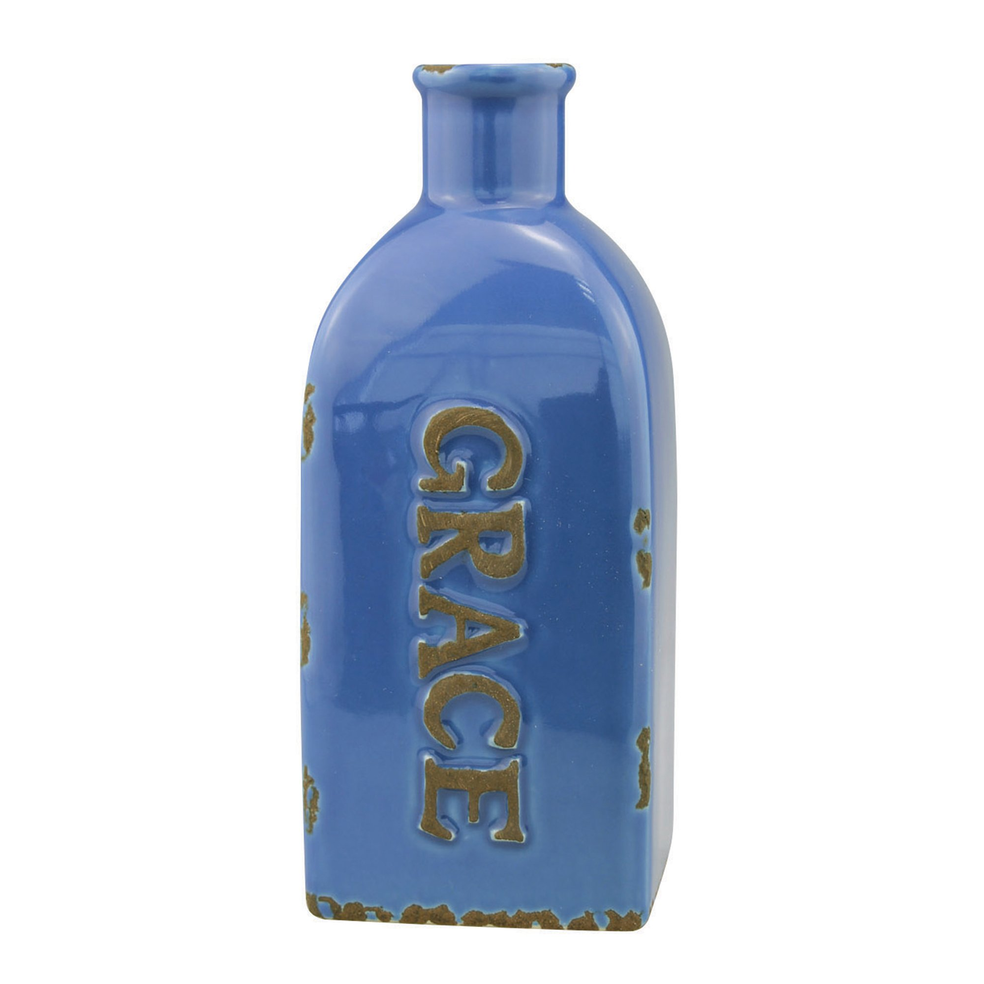 Stonebriar Decorative Antique Blue Ceramic Vase, For Floral Arrangements and Dried Flower Filler, Centerpiece for Coffee, Kitchen, and Dining Room Table