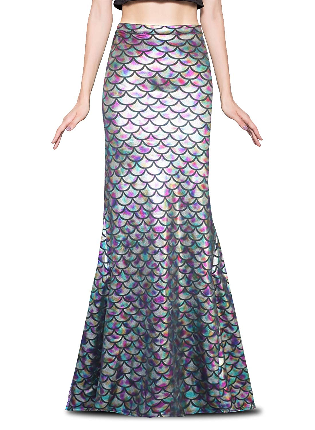 Ladies Long Iridescent Rainbow Fish Scale Print Stretchy Flared Mermaid Skirt - DeluxeAdultCostumes.com