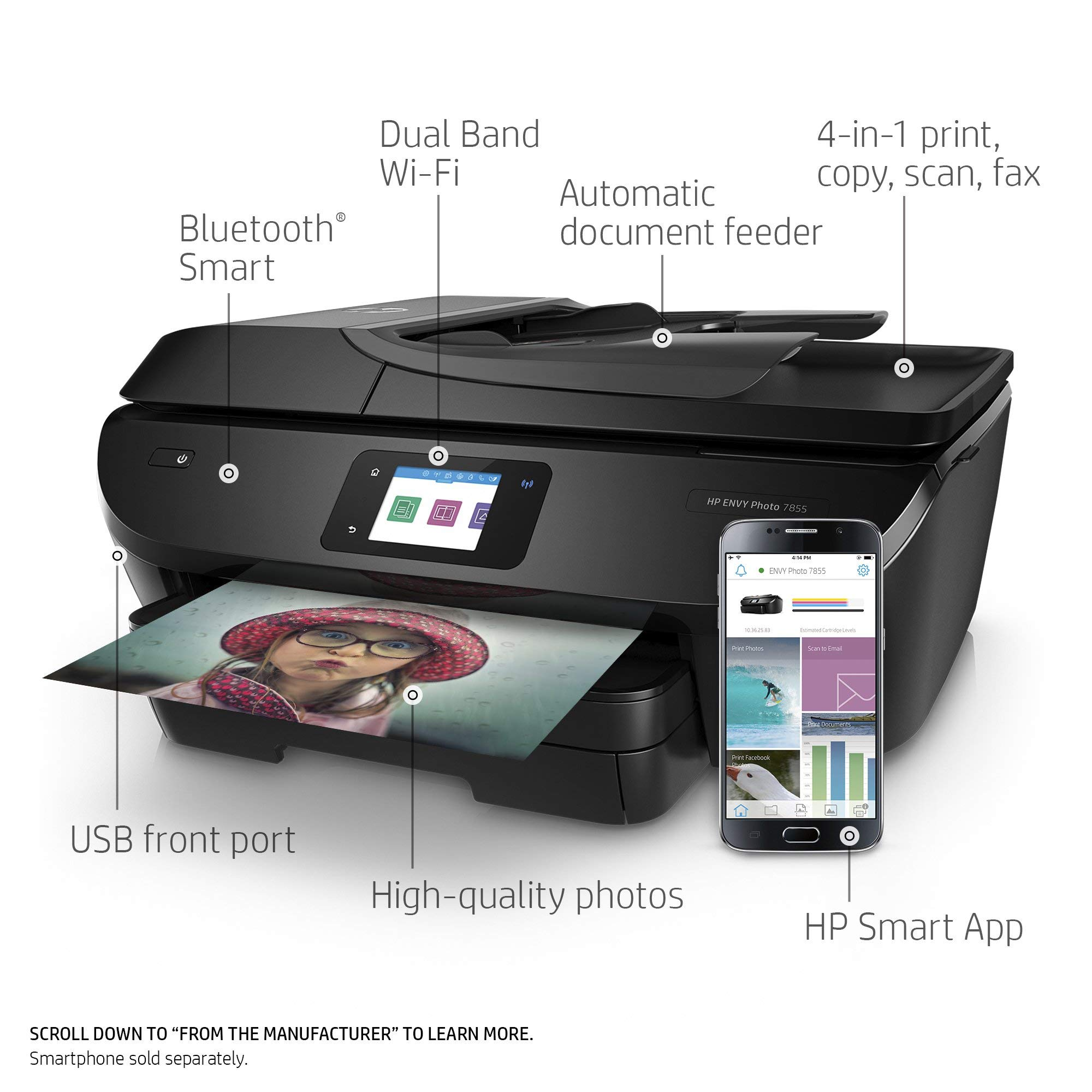 HP ENVY Photo 7855 All in One Photo Printer with Wireless Printing, Instant Ink ready (K7R96A) (Renewed) by HP (Image #2)