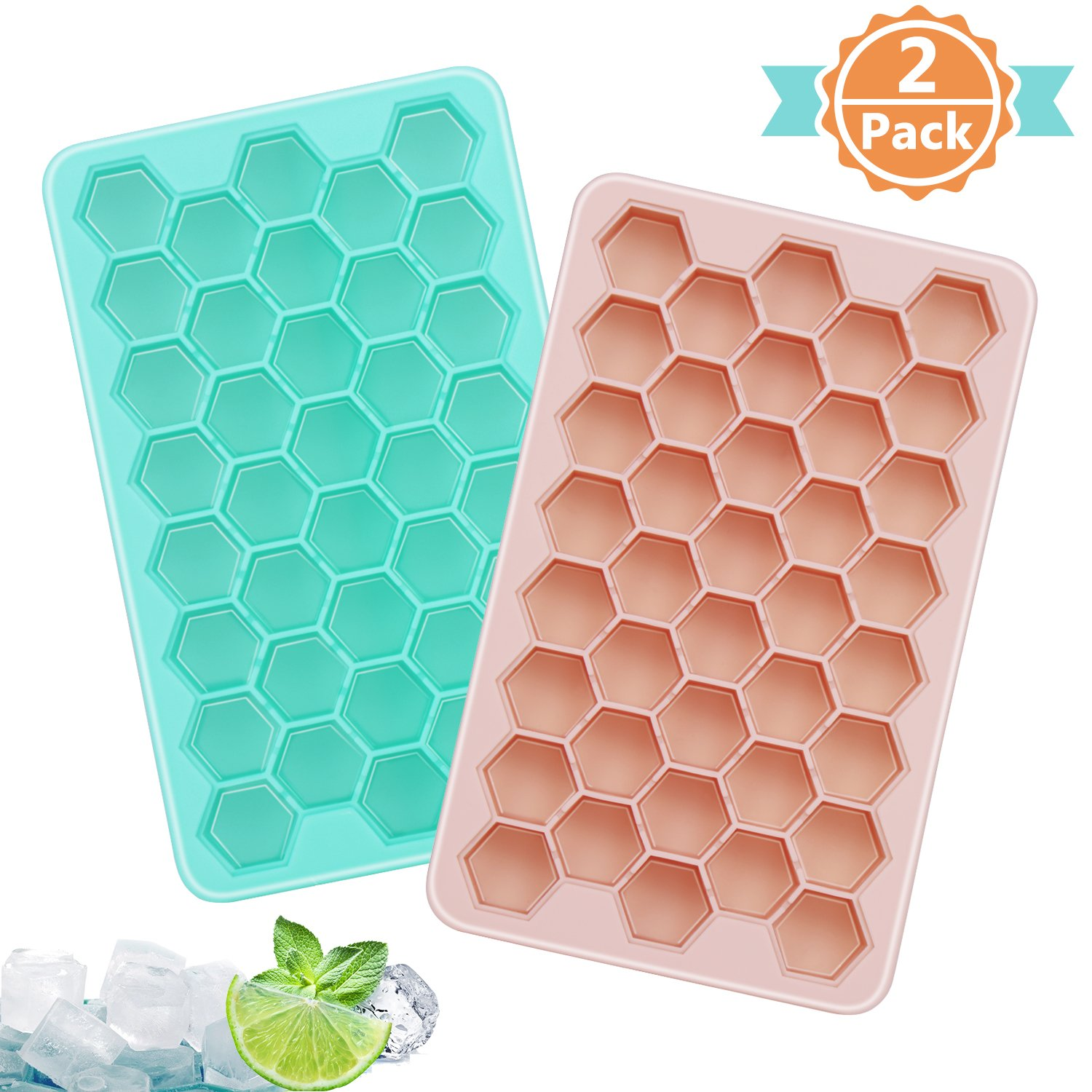 Adoric Ice Cube Trays 2 Pack, Easy-Release Silicone Honeycomb Shape Ice Tray, Ice Cube Mold for Chilling Bourbon Whiskey, Cocktail, Beverages, 38 Cubes Each BPA Free, FDA/LFGB Approval