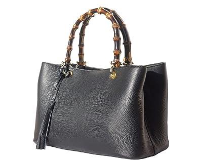 Finest Italian Leather Designer Inspired New Top Bamboo Handle Handbag ( Black)  Amazon.co.uk  Shoes   Bags d12da857c1