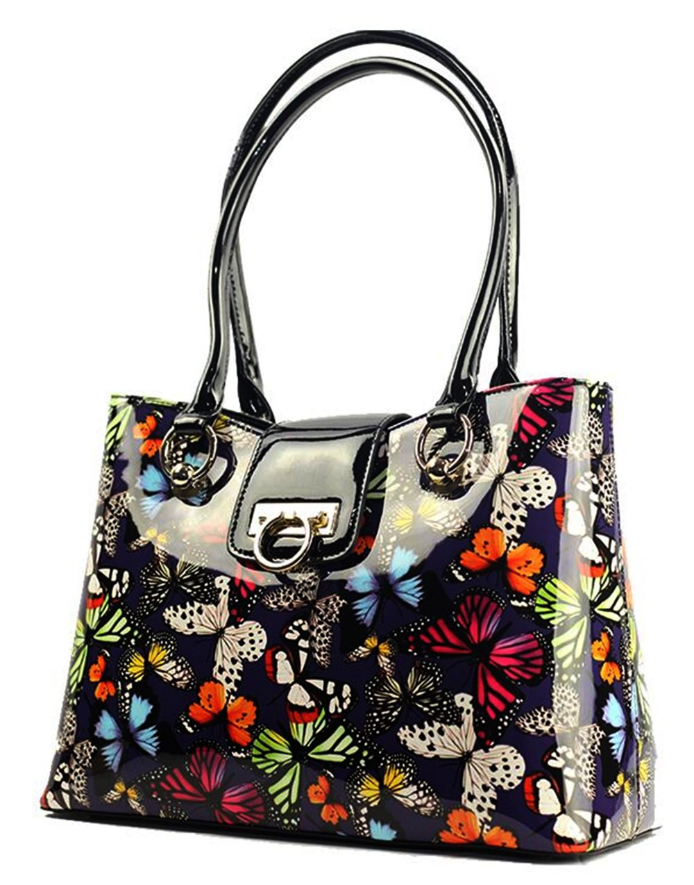 Bravo Beverly Hills Luxury HANDBAG / Tote~Lisa Multicolor Butterfly Print Pocketbook~Size Large