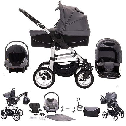 Bebebi Paris - Carrito de bebé 3 en 1, neumáticos de aire gris Montmartre