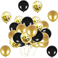 Black and Gold Balloons 12 Inch 50 Pack Black and Gold Confetti Party Balloons Birthday Balloons Latex Balloons for…