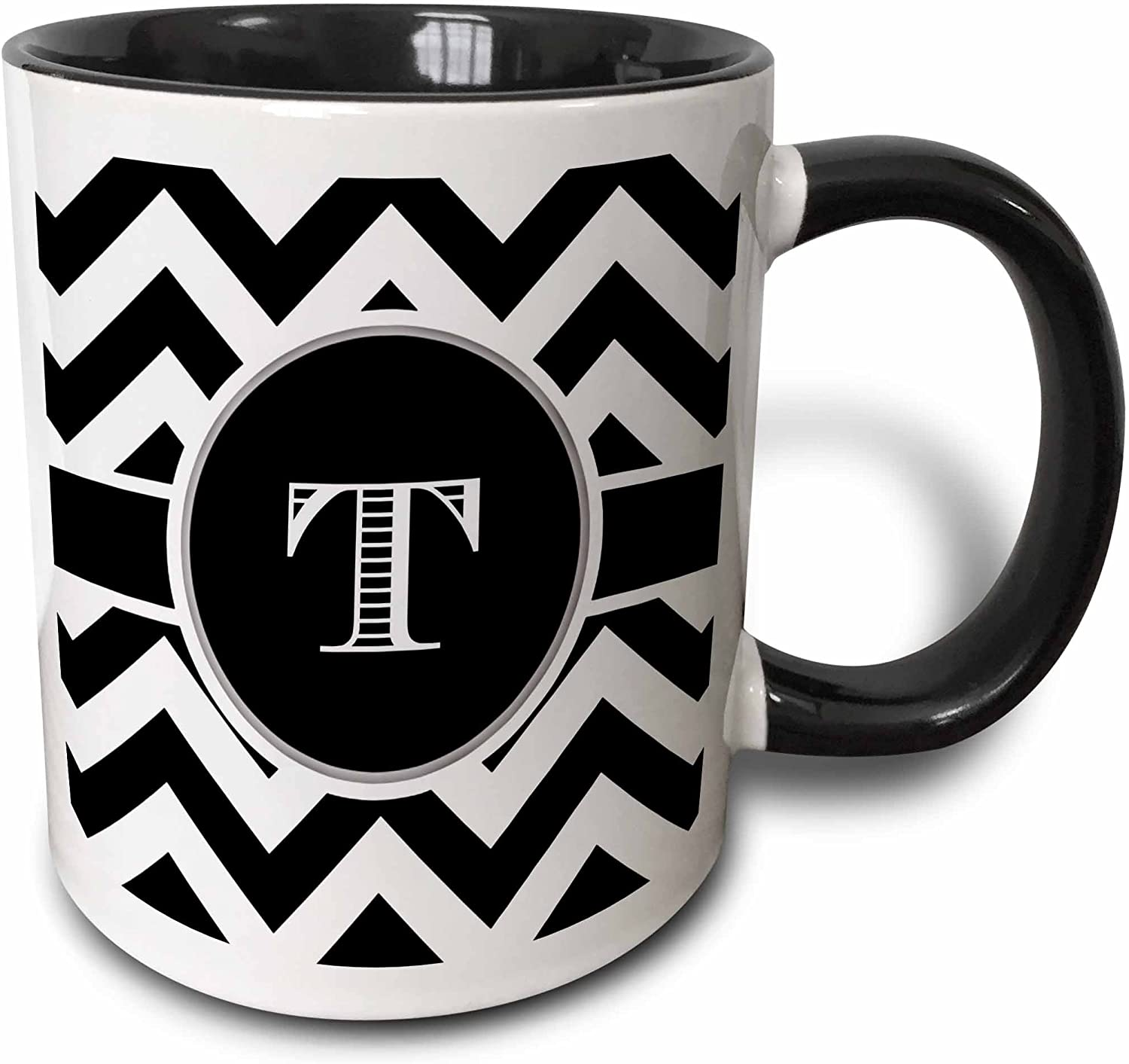 3dRose Black And White Chevron Monogram Initial T Mug, 11 oz