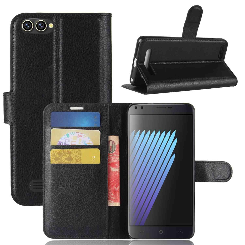 Guran® Funda de Cuero PU Para Doogee X30 Smartphone Función de Soporte con Ranura para Tarjetas Flip Case Cover Caso-negro Doogee X30-3