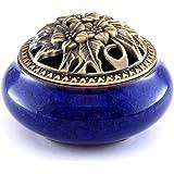 Ceramic Incense Burner & Porcelain Incense Holder,Ice-Patterned Blue Handmade Censer by Medoosky