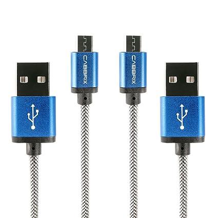 CABBRIX Cable Micro USB Carga rápida 3m Azul [2-Pack] Micro Cable USB de 2.4A para Cargar el Cargador Micro USB sincrónico y la Carga USB para ...