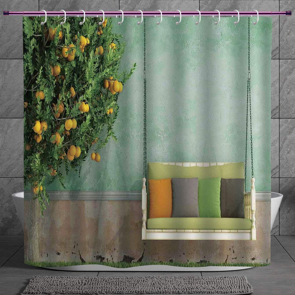 Decorative Shower Curtain 2 0 Country Home Decor Vintage Wooden Swing In The Garden Of An Old House With A Lemon Tree Summertime Yellow Green Bathroom Accessories With Hooks Amazon In Home Kitchen