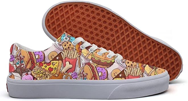SERXO Delicious Feast Women/¡s Casual Sneakers Canvas Slip Print Trainers