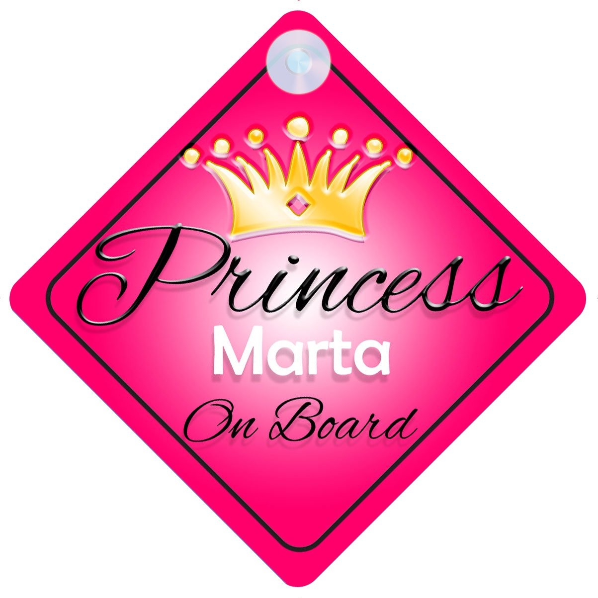 Princess Marta On Board Personalised Girl Car Sign Baby Child Gift 001