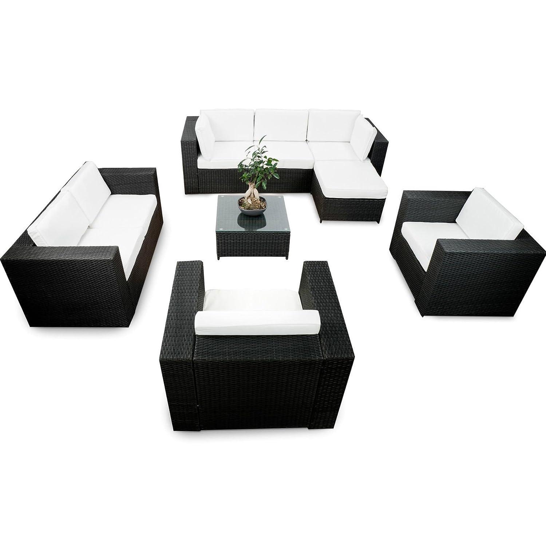 SSITG Polyrattan Gartenmöbel Lounge Möbel Sitzgruppe Lounge Hocker Tisch Sessel Sofa