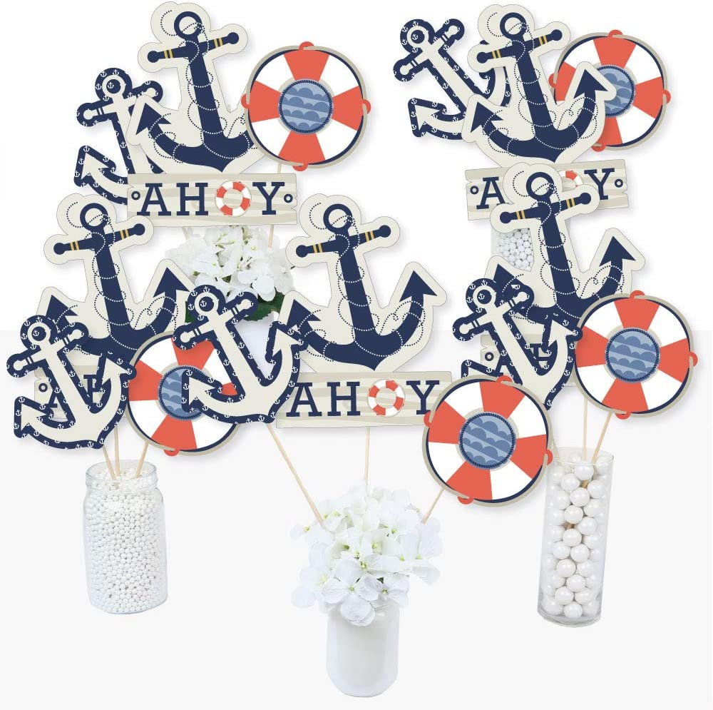 Ahoy - Nautical - Baby Shower or Birthday Party Centerpiece Sticks - Table Toppers - Set of 15