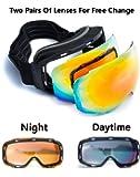 Anti-Fog Anti-UV Windproof Unisex Ski Goggles with Replaceable Spherical Lenses & 3-Layer Foam