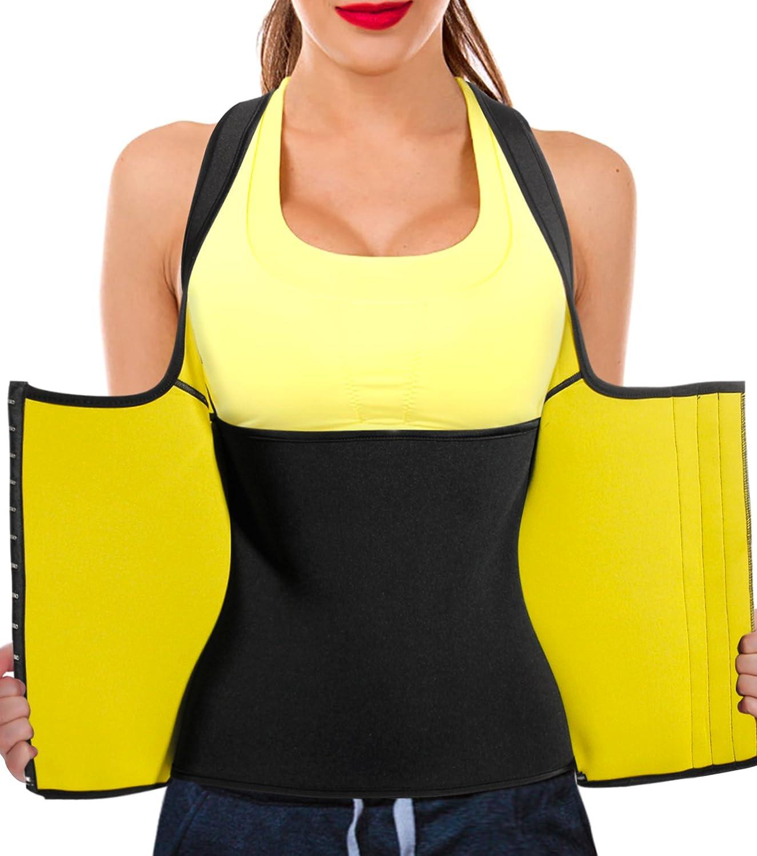 c01b4d1d7f Junlan Women Neoprene Waist Trainer Vest Corset Tank Top Sauna Body Shaper  Weight Loss at Amazon Women s Clothing store