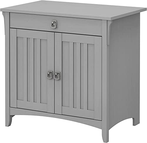 Bush Furniture Salinas Secretary Desk with Keyboard Tray and Storage Cabinet in Cape Cod Gray