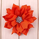 Mixed Colors Flat-bottomed Beautiful Bohemian Style DIY Decorative Chiffon Flowers with Pearl and Rhinestone Scrapbooking and More Decoration,Wedding Flowers(10Pcs) Lotus Rhinestone Flowers