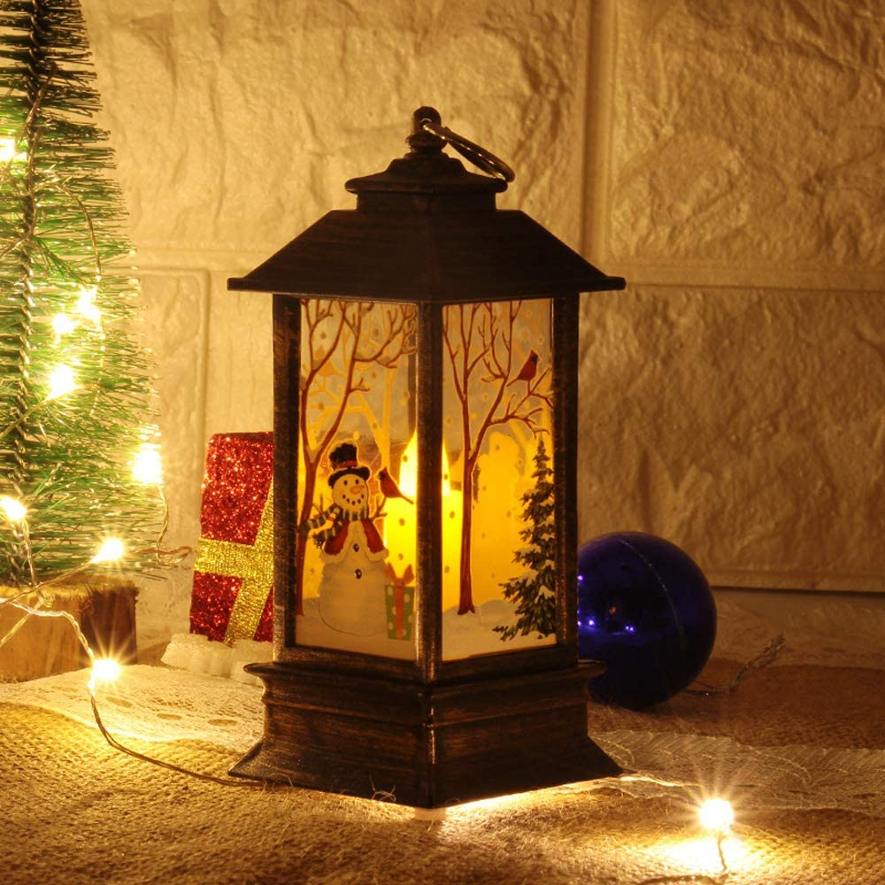 SCCS Lanterne Noel Neige Bonhomme de Neige, 6 x 6 x 14 cm Lampe Vintage Deco Noel Interieur Table Lanterne Ancienne Interieur Boule A Neige Lumineuse Village De No/ël Accessoire LED