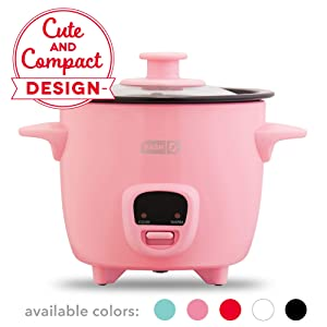 Dash DRCM200GBPK04 Mini Rice Cooker Steamer with Removable Nonstick Pot, Keep Warm Function & Recipe Guide 2 cups, for Soups, Stews, Grains & Oatmeal Pink