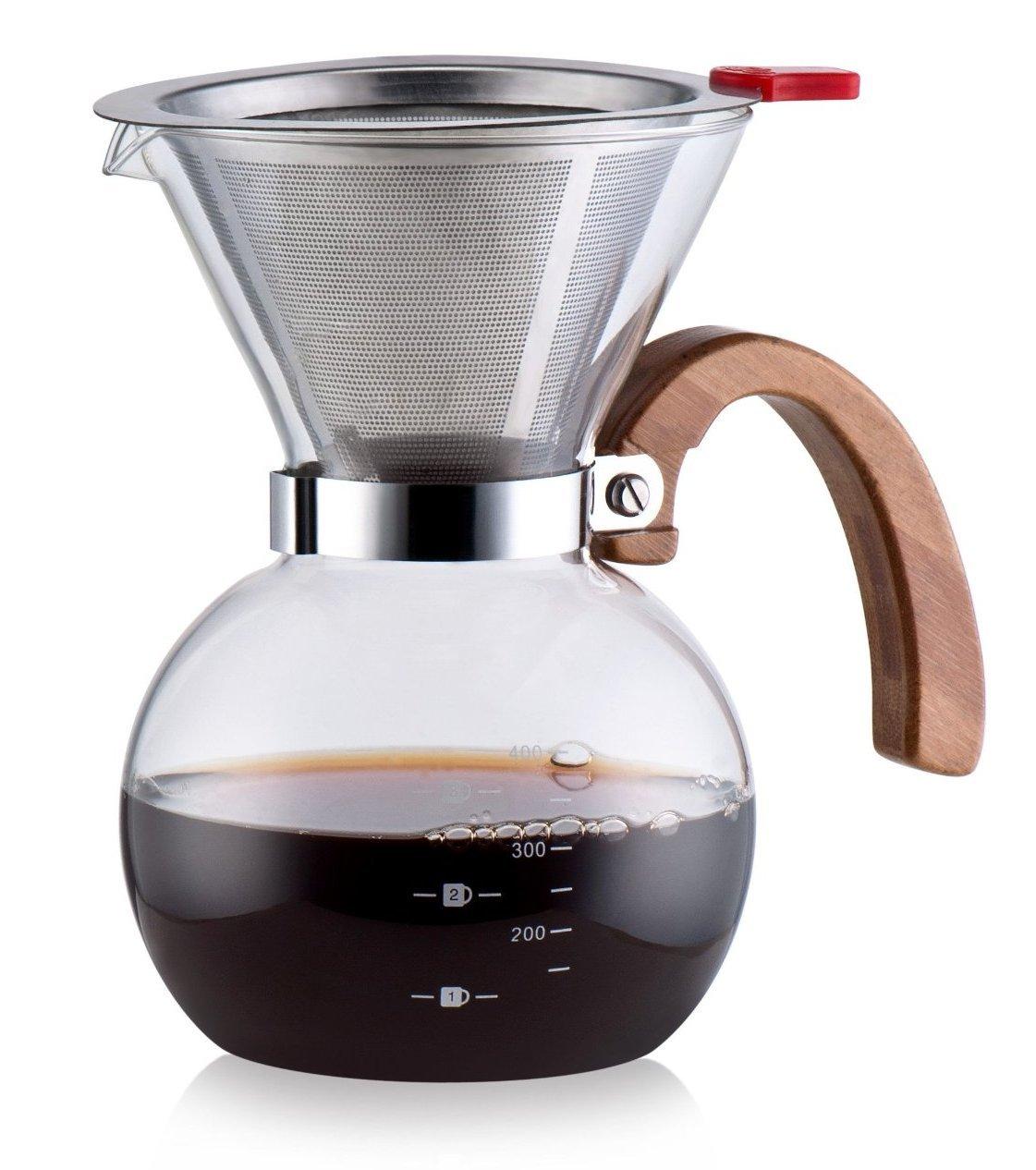 Diguo Pour Over Coffeemaker Glass Coffee Maker Drip Pot with Stainless Steel Permanent Filter, Bamboo Handle, 1-4 Cups