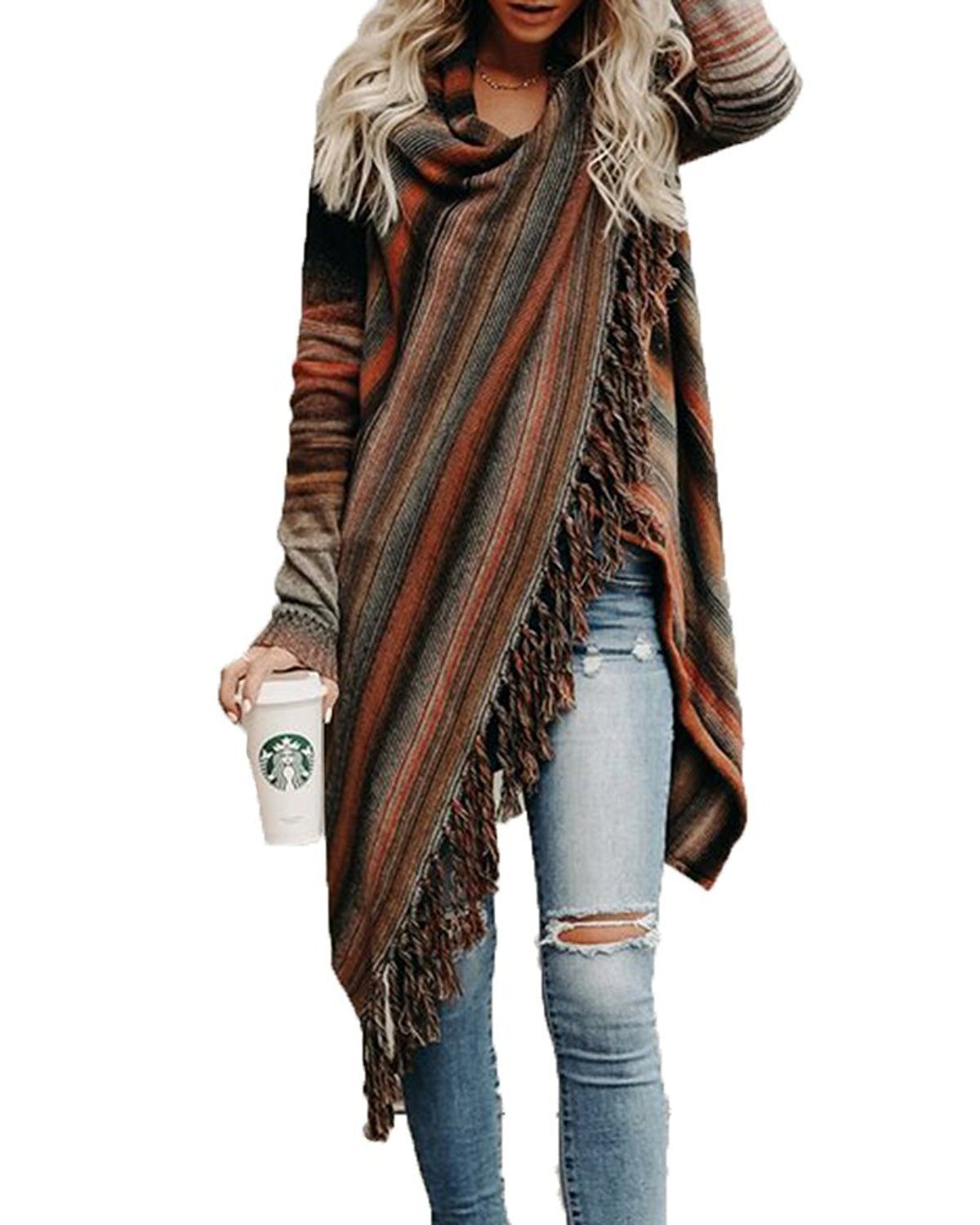 Sweetnight Women's Casual Tassel Cardigan Cowl Neck Knited Tassels Slash Sweaters Asymmetric Hem Wrap Poncho Coat Outwear