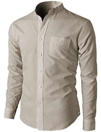 H2H Mens Casual Slim Fit Oxford Mandarin Collar Button-down Shirt ...
