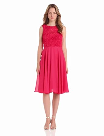 Isaac Mizrahi New York Women's Fit And Flare Mesh Dress, Watermelon, 2